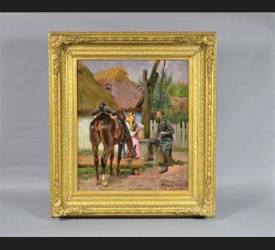"""Wojciech Kossak """"Ułan z dziewczyną przy studni"""" 1920 r."""