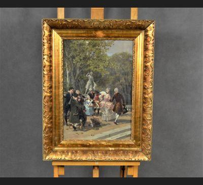 """De Luxe !!! WOJCIECH KOSSAK - """"Zabawa w ogrodzie"""", 1882 rok"""
