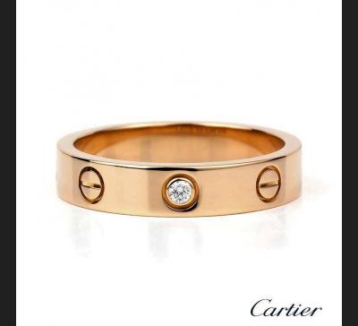 Cartier Love, obrączka różowe złoto 750 / brylant