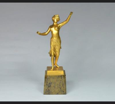 Art Deco, półakt tancerki, brąz, lata 20. XX w.