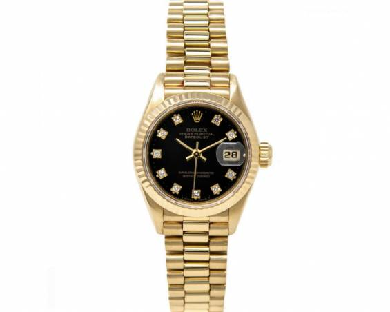 De Luxe !! Rolex Lady Data Just President, złoto 750 / diamenty