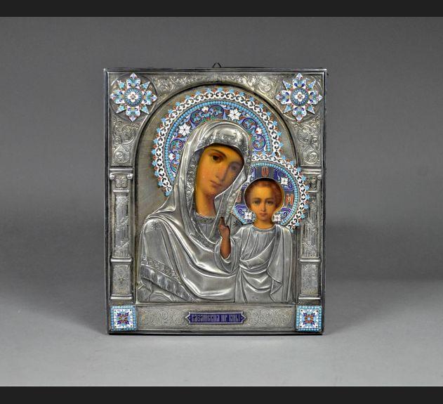 """De Luxe !! """"Matka Boska z Dzieciątkiem, srebro 84 / emalia XIX wiek"""