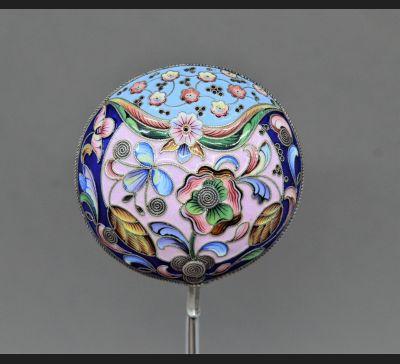 Kolekcjonerska łyżka, srebro 84, emalia, Moskwa, Мария Семенова