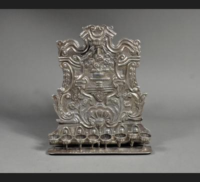 Lampa chanukowa srebro 12 łut Jan Pogorzelski, lata 1844-1850