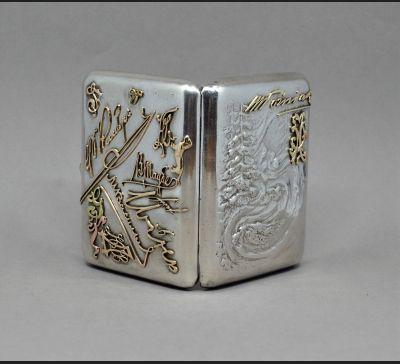 De Luxe !!! FABERGE !! papierośnica srebro 84 / złoto 56