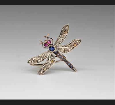 """""""Ważka"""", broszka złoto 750, szafir, rubiny, diamenty ok. 1900 r."""