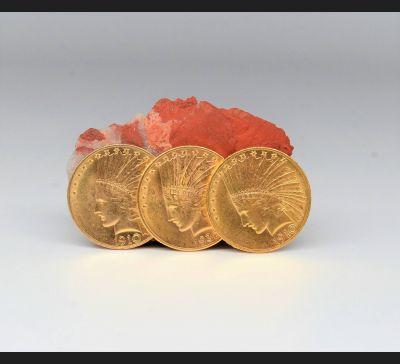 3 złote monety, 10 $ Indian Head / Eagle 1910 / 1932 rok