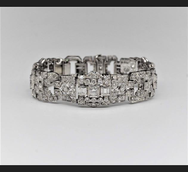 Art Deco, bransoleta platyna / złoto , 239 diamentów !!!