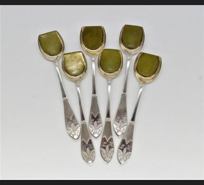 J.Fraget / Wł. Hempel, luksusowe łyżki do kawioru 6/12 sztuk, srebro !