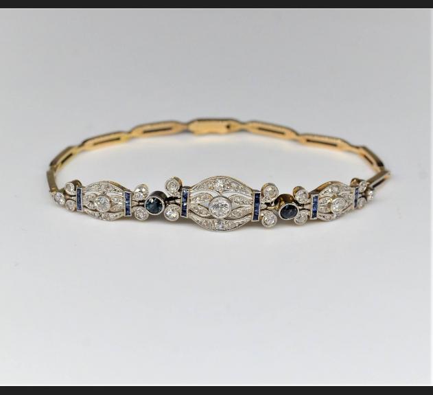 Art Deco, bransoleta Paryż złoto / diamenty / szafiry, lata 20/30. XX w.