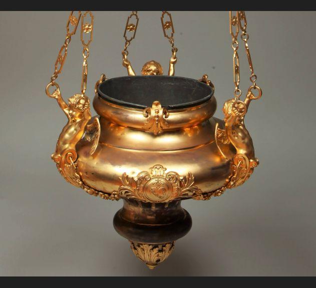 Ogromna lampa wieczna, brąz złocony II poł. XIX wieku