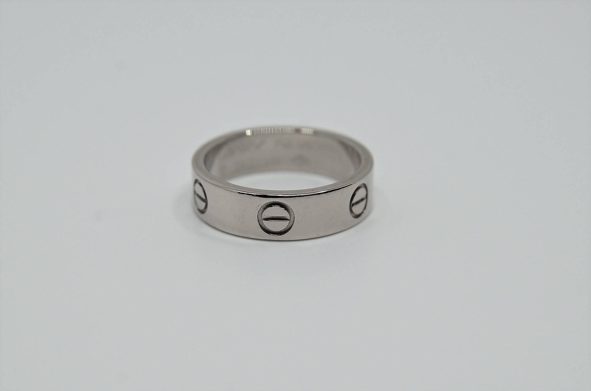 Chwalebne CARTIER LOVE, obrączka białe złoto 750 VM61
